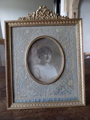 Antique French Art Nouveau Bronze And Brass Large Photo Frame Knots Embroidery