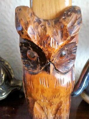 Black Forest carved wood wooden owl clothes brush holder, very old