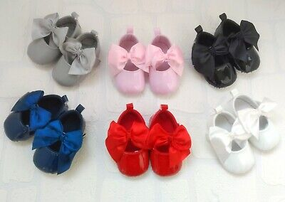 Girls Baby SOFT Sole Satin Bow Patent Christening Wedding Dress Pram Shoes Size