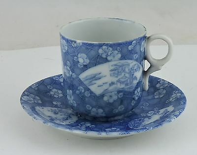 Vintage Chinese Or Japanese Asian Blue White Demitasse Cup & Saucer Set