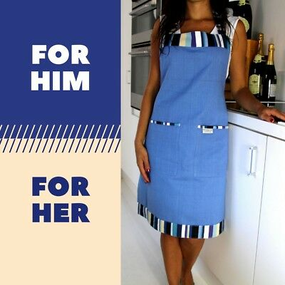 Kitchen Apron with Large Pockets 100% Cotton Blue Chef Cooking Apron