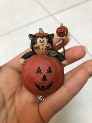 Longaberger Homestead Pumpkin with cat Basket Sitter, Halloween!