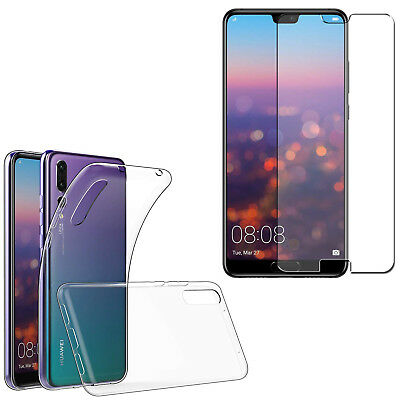 For Huawei P20 / P20 Lite / P20 Pro - Clear Slim Gel Case Cover + Tempered Glass