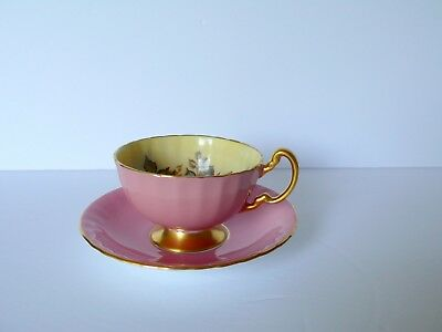Aynsley J.A.Bailey Pink Cabbage Rose Bone China Cup & Saucer AS IS