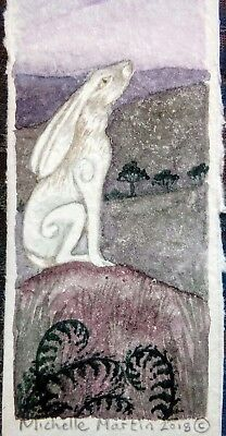 Bookmark small gift present birthday textured painted in watercolour.