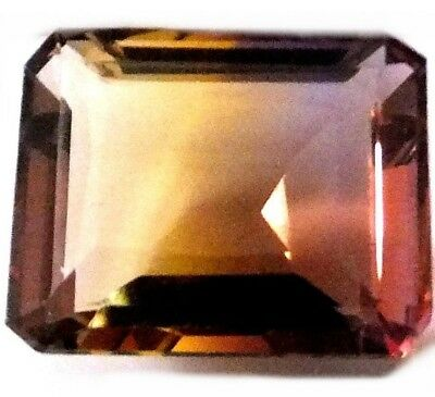 HYDROTHERMAL EMERALD CUT GOLDEN PURPLE BEAUTIFUL AMETRINE 18.7 x 15.2 mm.