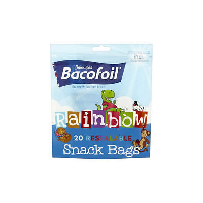 40 x Snack Food Bags, Baco Rainbow Resealable Bag for Kids Snacks & Packed Lunch