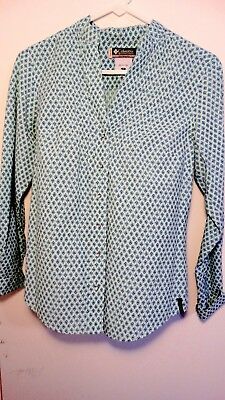 Columbia Button Down Long Sleeve Shirt- Blue- Womens small