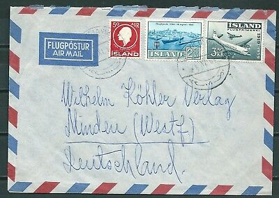 Iceland 1961 Airmail Cover, Reykjavik To Germany, Nice Stamps -Cag 130818