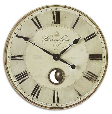 """Large Gray Pendulum Wall Clock Roman Numerals 23"""" 