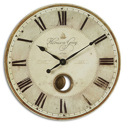 """Large Gray Pendulum Wall Clock Roman Numerals 30"""" 