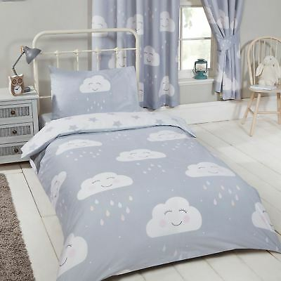 Happy Clouds + Stars Single Duvet Cover Set Childrens 2 In 1 Design