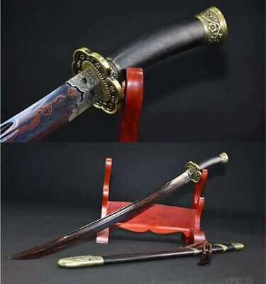"38"" Folded Steel Red Blade Sharp Full Tang Blade Chinese Qing Sword(清刀)"