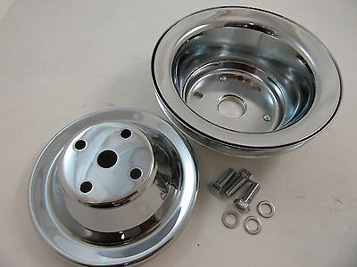 SB Chevy SBC Chrome 1 Groove Long Water Pump Pulley Kit 283 327 350 400 V8 LWP