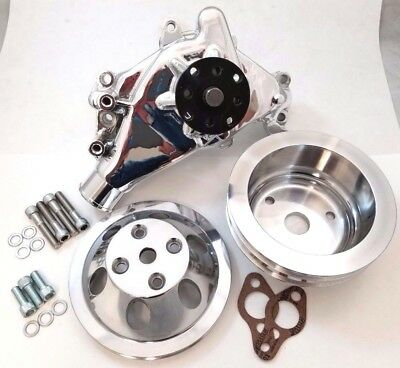 POLISHED SB Chevy SBC Aluminum Long Water Pump & Billet Aluminum Pulley Kit