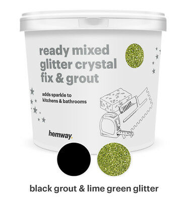 Hemway Glitter Grout Ready Mixed 4.5KG Black Grout / Lime Green Glitter
