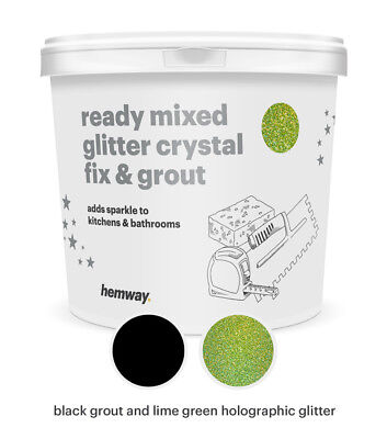 Hemway Glitter Grout Ready Mixed 4.5KG Black Grout / Lime Green Holographic