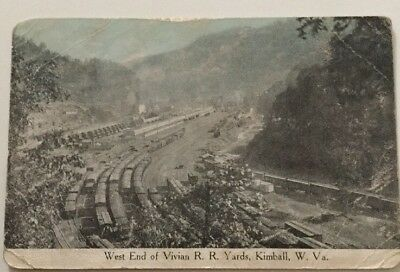 Kimball, W.Va. 1908 Pc West End Of Vivian Railroad Yards West Virginia