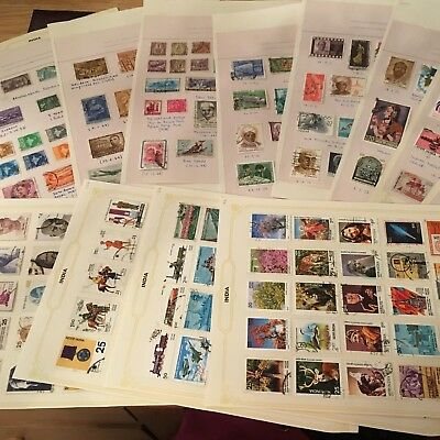 INDIA INDIAN STAMPS ON 12 ALBUM PAGES lovely collection 1949 ONWARDS