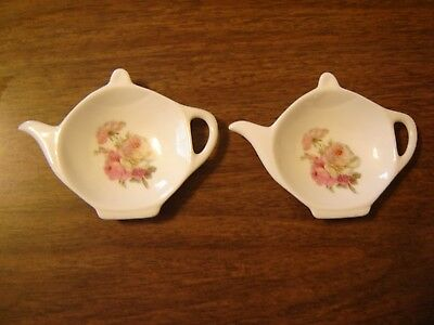 Tea Bag or Spoon Rest Tea Pot Shaped Floral Set of 2 USA Winrose Collection