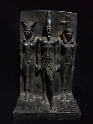 ANCIENT ANTIQUE Egyptian stone statue of MENKAURE WITH BAT & HATHOR 2530-2500 BC