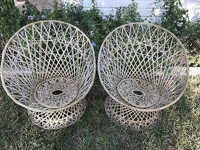 Pleasant Vintage Russell Woodard Style Rattan Scoop Egg Pod Chairs 2 Uwap Interior Chair Design Uwaporg