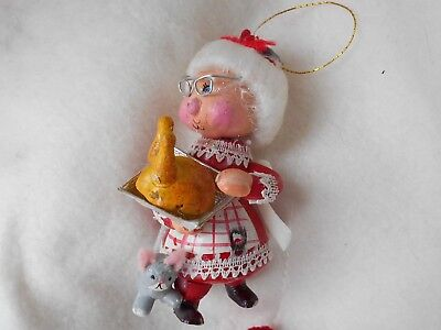 Vintage  Kurt Adler of NYC Mrs. Santa Clause Wooden Christmas Tree Ornament
