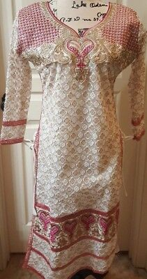 Rich Girl Beaded Pakistani / Indian India Dress Beaded White Pink Hearts