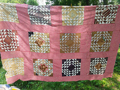 "vintage cotton quilt top hand pieced red checked with triangle pattern 80"" x 55"""