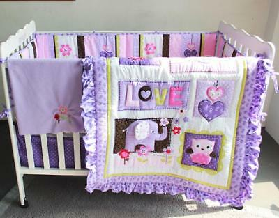Baby Crib Bedding Sets Comforter Bumper Pads Fitted Sheet Dust Ruffle