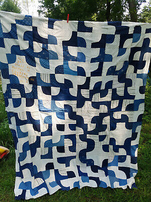 vintage  cotton quilt top hand pieced blue & white dated 1923 approx. 70 x 82