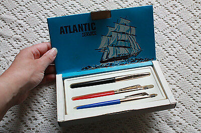 Ancienne boîte stylos ATLANTIC SERVICE vintage Made in Italy Italie
