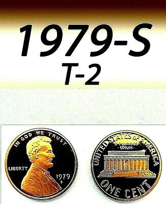 1979-S Lincoln Bright Clear Uncirculated Proof Penny 1 Cent.(Clear S).=T-2=