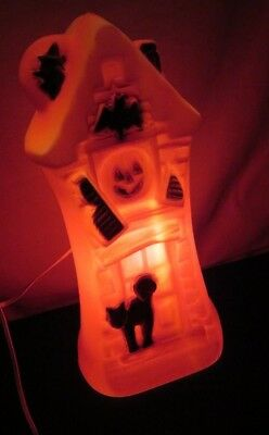 Blow Mold Haunted House Vintage Halloween Prop Witch Bat Black Cat Pumpkin (m538