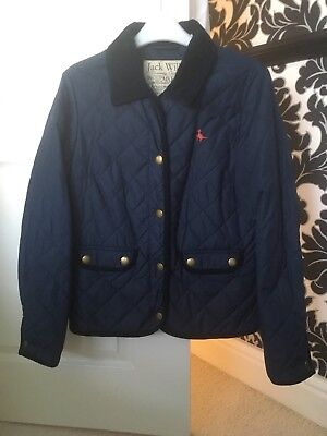 Ladies Girls Size 10 Navy Blue Quilted Jack Wills Coat Jacket