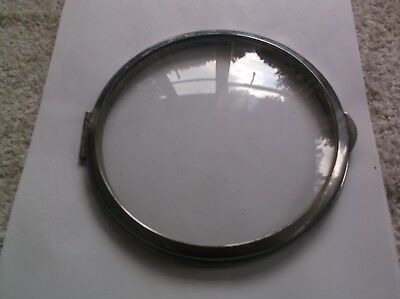 GLASS /CHROME RIM  FROM AN OLD   MANTLE CLOCK  OUTER 6 1/4 inch diam  REF JAY 4