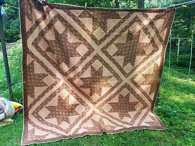 vintage quilt cotton 1800's very nice condition all hand quilted 90 x 90