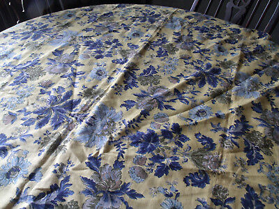 Vintage Linen Indanthren Fabric-Gold, Green and Blue Floral-45x51
