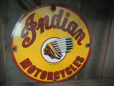 """12"""" Old 1952  Indian Motorcycle Porcelain Advertising Sign"""