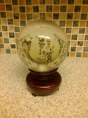 Oriental Reverse Hand Painted Glass Ball Wooden Rotating Stand Globe Musicians