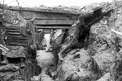New 4x6 World War I Photo: Entrenched British Troops, Battle of the Somme, 1916