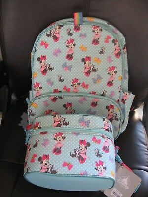 Disney Store Minnie Mouse & Figaro Blue School Backpack and Lunch Box/Tote NWT