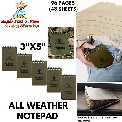 Waterproof Pocket Notebook Notepad Army Green Pack Of 5 PVC Cover 5 x 3 Inches