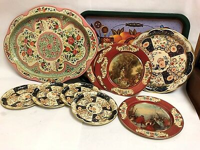Daher Decorated Ware Lot Og Tin Plates Trays Lot Of 11 Holland