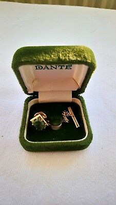 Dante Vintage Tie Pin/stud Green Stone & safety chain