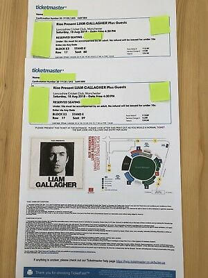 Liam Galllagher  2 tickets Manchester           Lancashire Cricket Club SAT