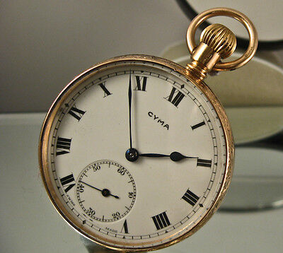 Cyma 9Ct Pocket Watch Vintage Movement Cal 999 Working Serviced  Swiss 15 Jewels