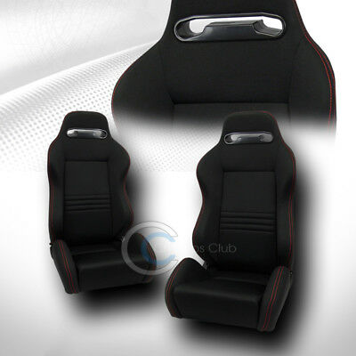 Tr Sport Black Cloth Red Stitches Reclinable Racing Bucket Seats+Slider Pair C32