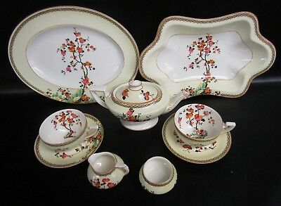 1920's Crown Ducal Blossom Tree Pinks Hand Painted 9 Piece Tea Set For Two