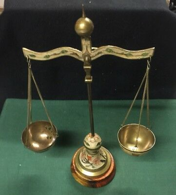 Antique Ornate Brass Balance Scale With Wood Base